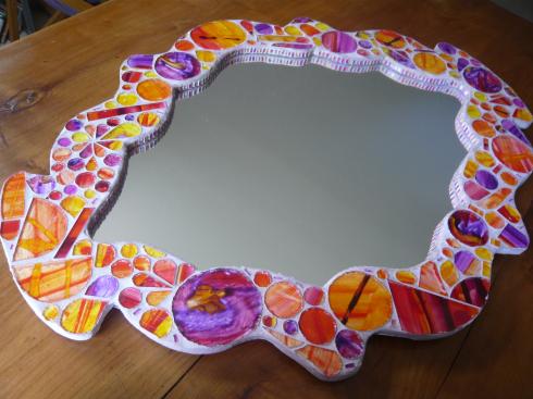 miroir en verre peint